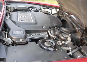 The engine compartment should be clean and in order, as on this eleven-year-old Bentley.